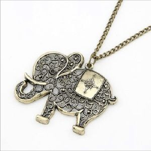 Antiqued Brass Filigree Elephant Necklace